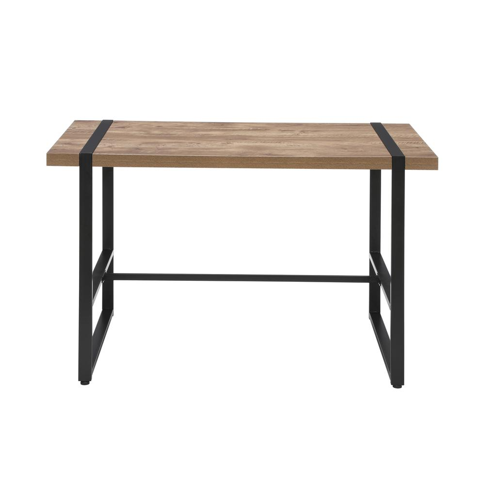 "Modern 48"" Metal O-Frame Computer Desk, in Knotty Oak. Picture 3"