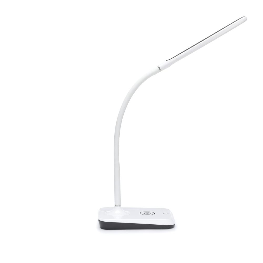 LED Desk Lamp with Touch Activated Switch and Integrated Wireless Charging Station, White. Picture 4