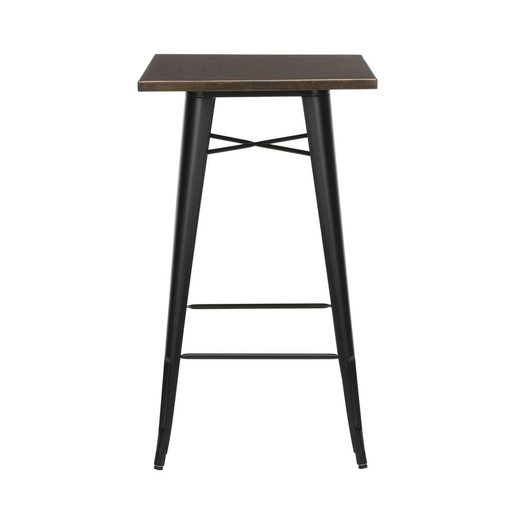 """The OFM 161 Collection Industrial Modern 24"""" Square Bar Table with Footring features a galvanized steel frame coupled with a 1"""" thick wooden tabletop and completed with a footrest that's positioned 11. Picture 2"""