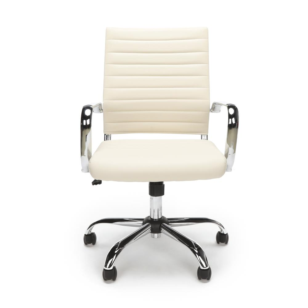 OFM ESS-6095 Soft Ribbed Bonded Leather Conference Chair, Ivory. Picture 2