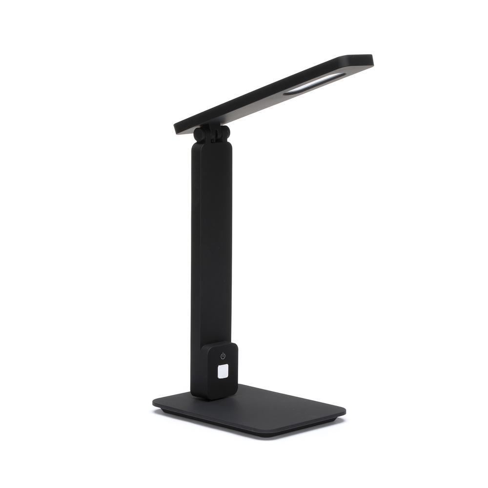 OFM 4025-BLK Industrial LED Desk Lamp with Touch Activated Switch and USB Charging Port, Black. Picture 1