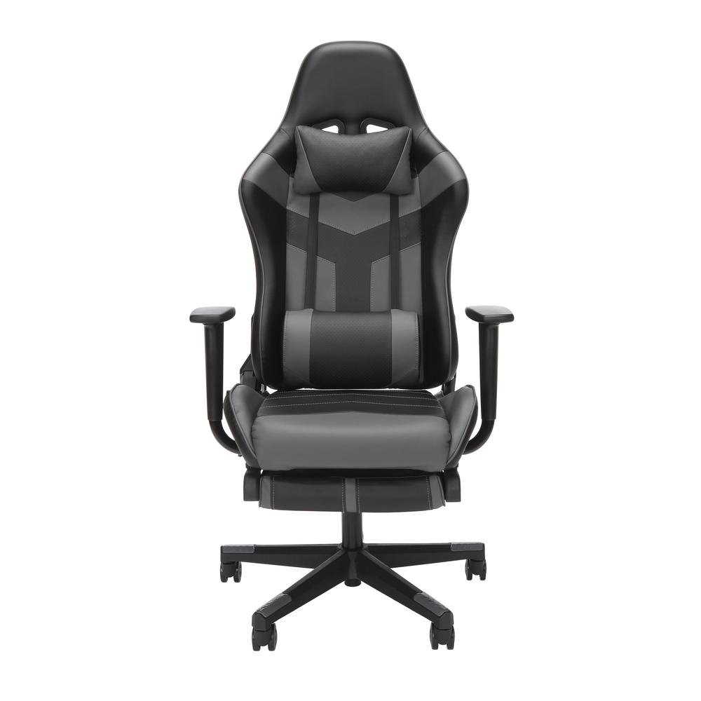 Essentials Collection High Back PU Leather Gaming Chair, with Extendable Footrest, in Grey (ESS-6075FR-GRY). Picture 2