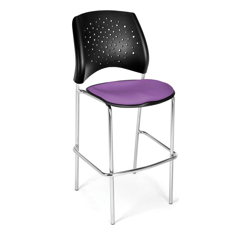 OFM Model 328C Fabric Cafe Height Chair, Plum with Chrome Finish Base. Picture 1