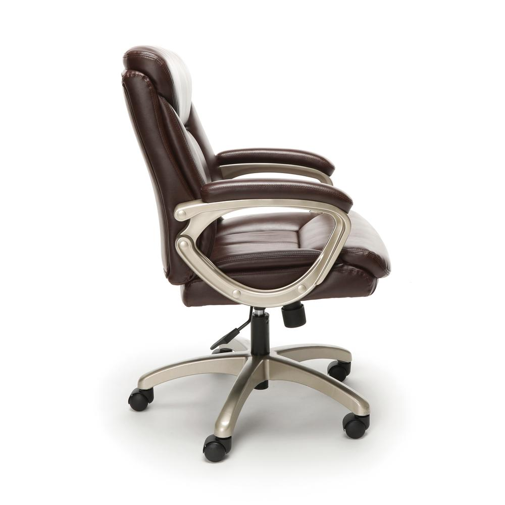 Essentials by OFM ESS-6020 Executive Office Chair, Brown with Champagne Frame. Picture 4