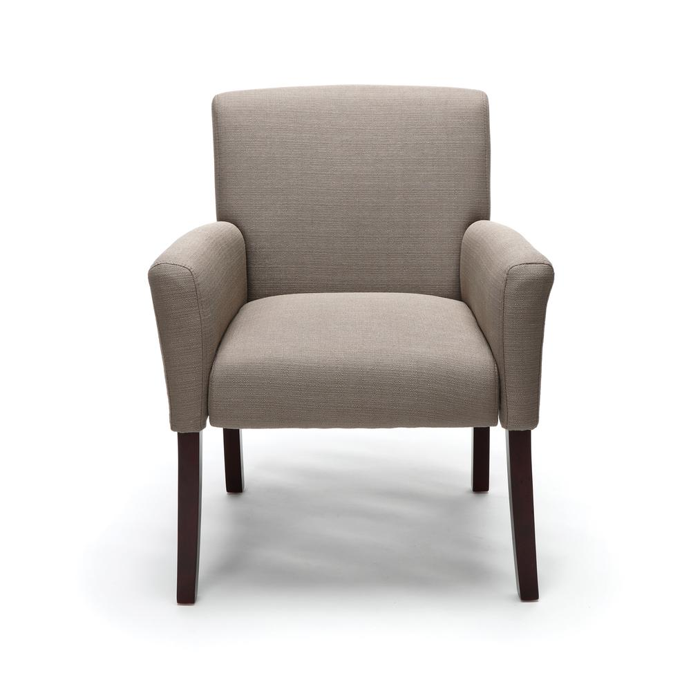 OFM ESS-9025 Fabric Guest Chair with Arms and Wooden Legs, Tan. Picture 2