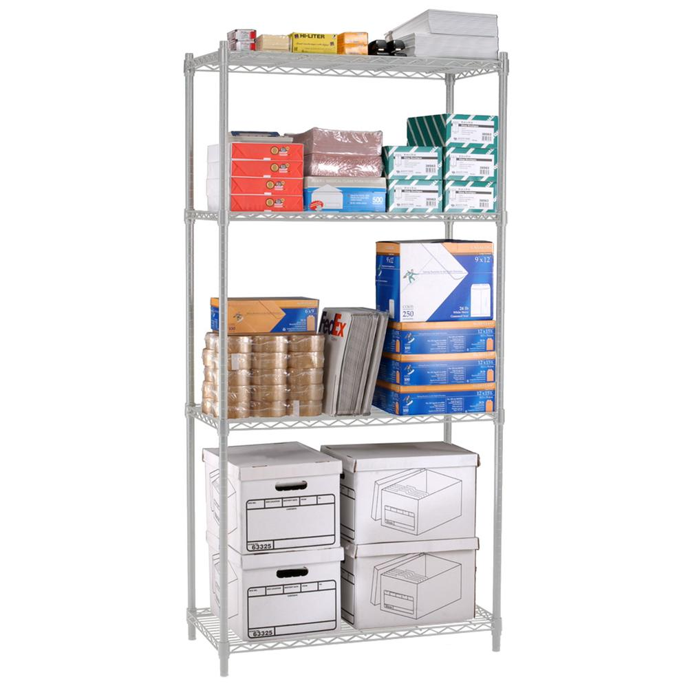 """OFM Adjustable Wire Shelving Unit 36 x 72, 24"""" Depth, in Silver (S367224-SLVR). Picture 1"""