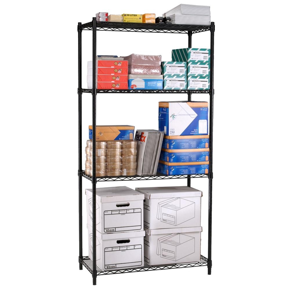 "OFM Adjustable Wire Shelving Unit 48 x 72, 18"" Deep, in Black (S487218-BLK). Picture 1"