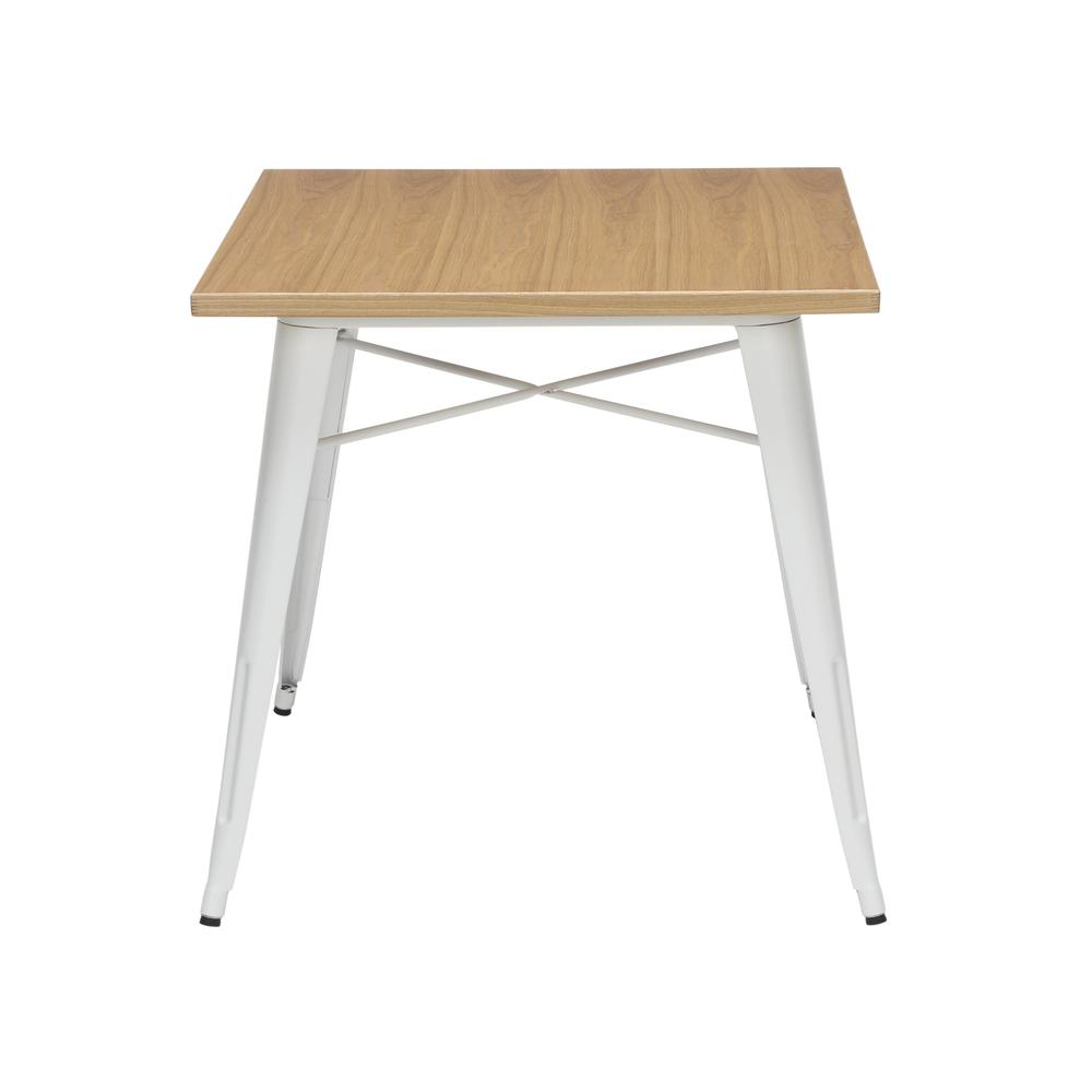 """The OFM 161 Collection Industrial Modern 30"""" Square Dining Table features a galvanized steel body with a wooden tabletop that is ideal for covered outdoor spaces or any indoor space like kitchens, caf. Picture 3"""