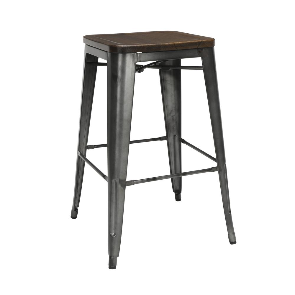 "The OFM 161 Collection Industrial Modern 30"" Backless Metal Bar Stools with Solid Ash Wood Seats, 4 Pack, require no assembly, are stackable, and provide a roomy 15 square inches of seating surface. P. Picture 1"