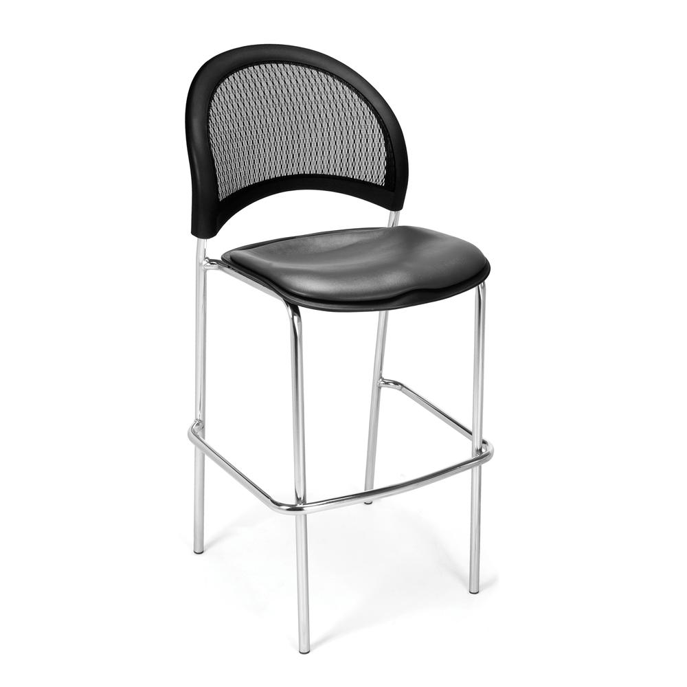 OFM Model 338C-VAM Vinyl Cafe Height Chair, Charcoal with Chrome Finish Base. Picture 1