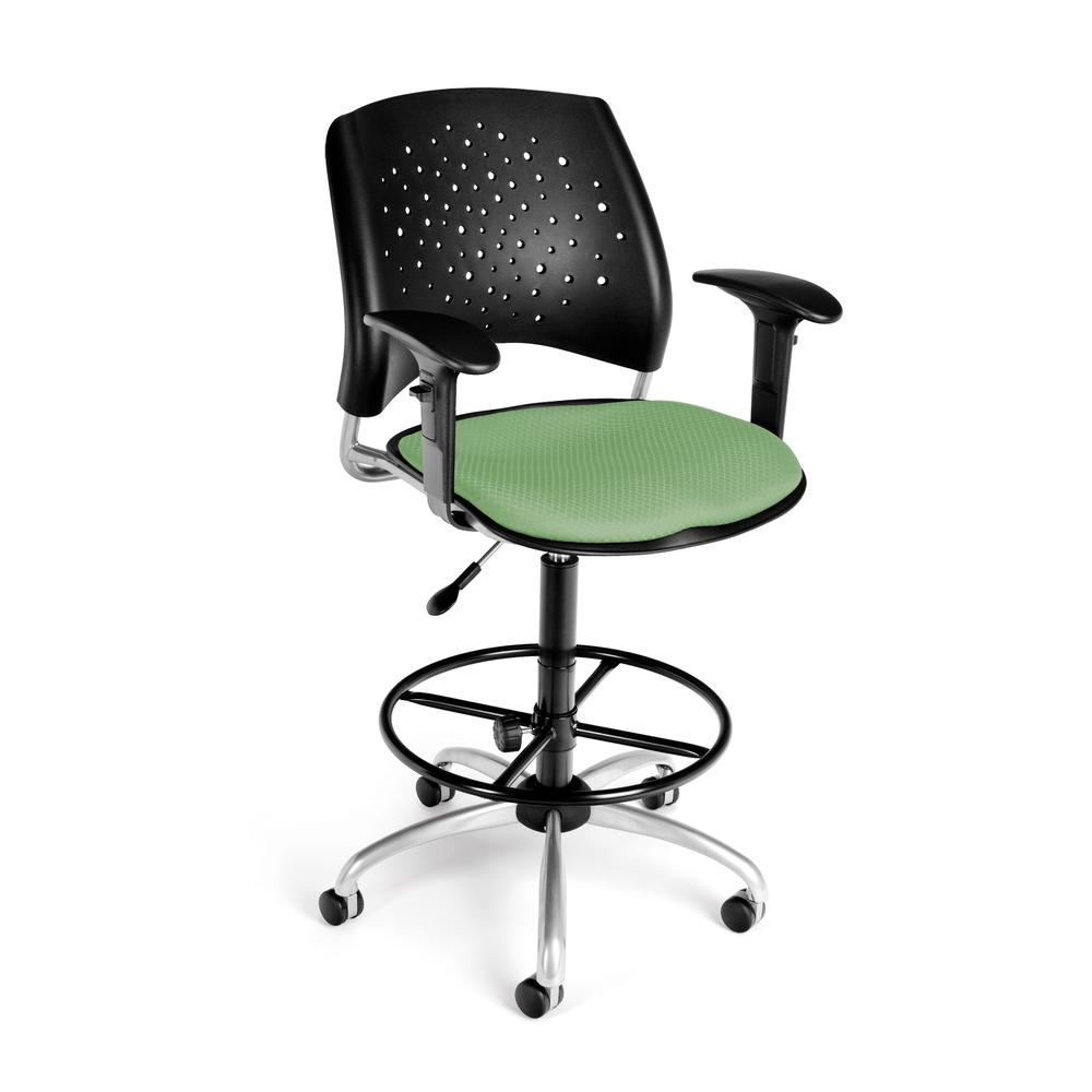OFM Model 326-AA3-DK Fabric Swivel Task Chair with Arms , Kit, Sage Green. Picture 1