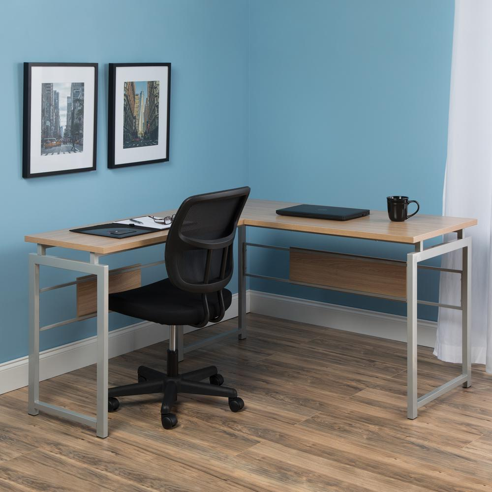 Essentials by OFM ESS-1020 L Desk with Metal Legs, Harvest with Silver Frame. Picture 7