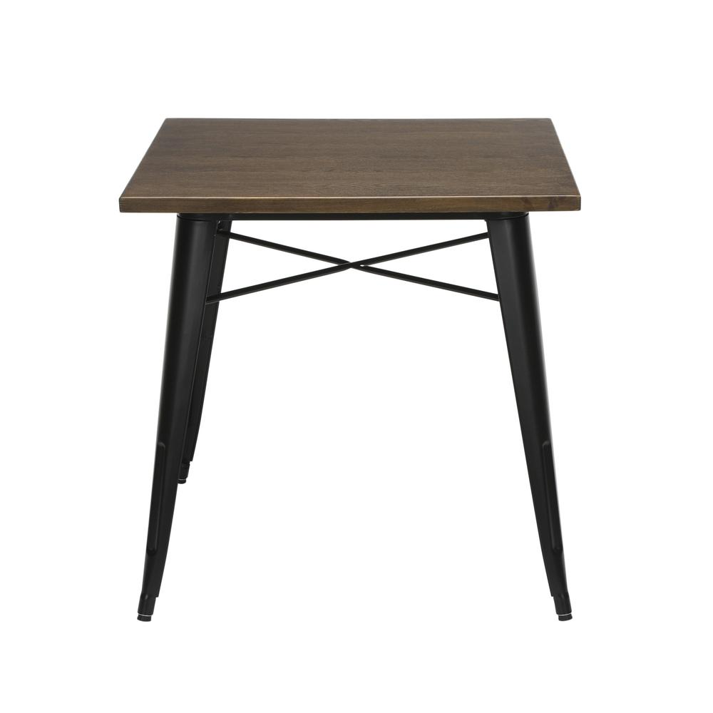 "The OFM 161 Collection Industrial Modern 30"" Square Dining Table features a galvanized steel body with a wooden tabletop that is ideal for covered outdoor spaces or any indoor space like kitchens, caf. Picture 5"