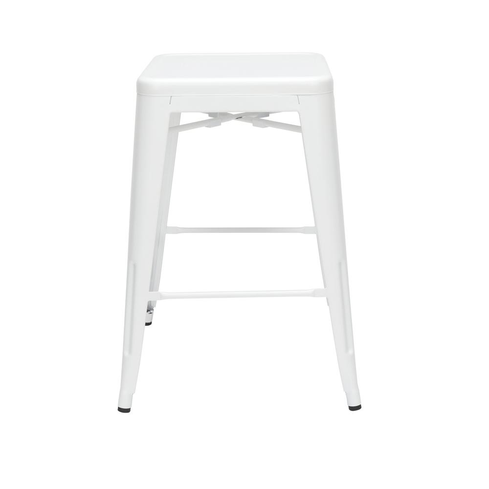 """The OFM 161 Collection Industrial Modern 26"""" Backless Metal Bar Stools, 4 Pack, require no assembly, are stackable, and provide a roomy 15 square inches of seating surface. These counter height stools. Picture 3"""