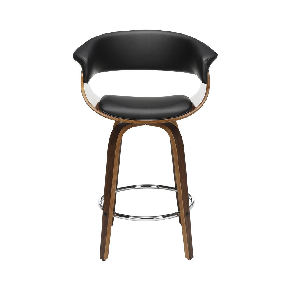 "The OFM 161 Collection Mid Century Modern 26"" Low Back Bentwood Frame Swivel Seat Stool, Vinyl Upholstery, in Black, is a statement piece that solves your elevated seating needs with the added functio. Picture 2"