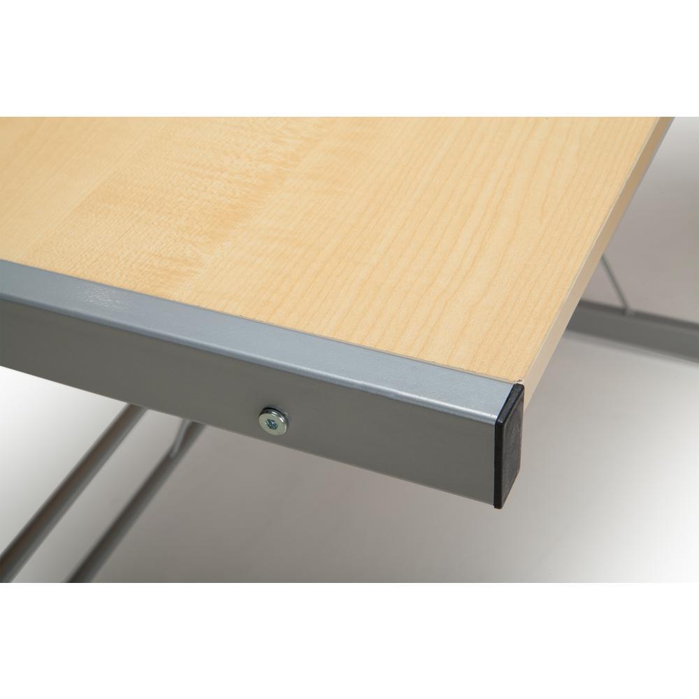 """60"""" Metal Frame L-Shaped Desk, Corner Computer Desk, in Maple. Picture 6"""