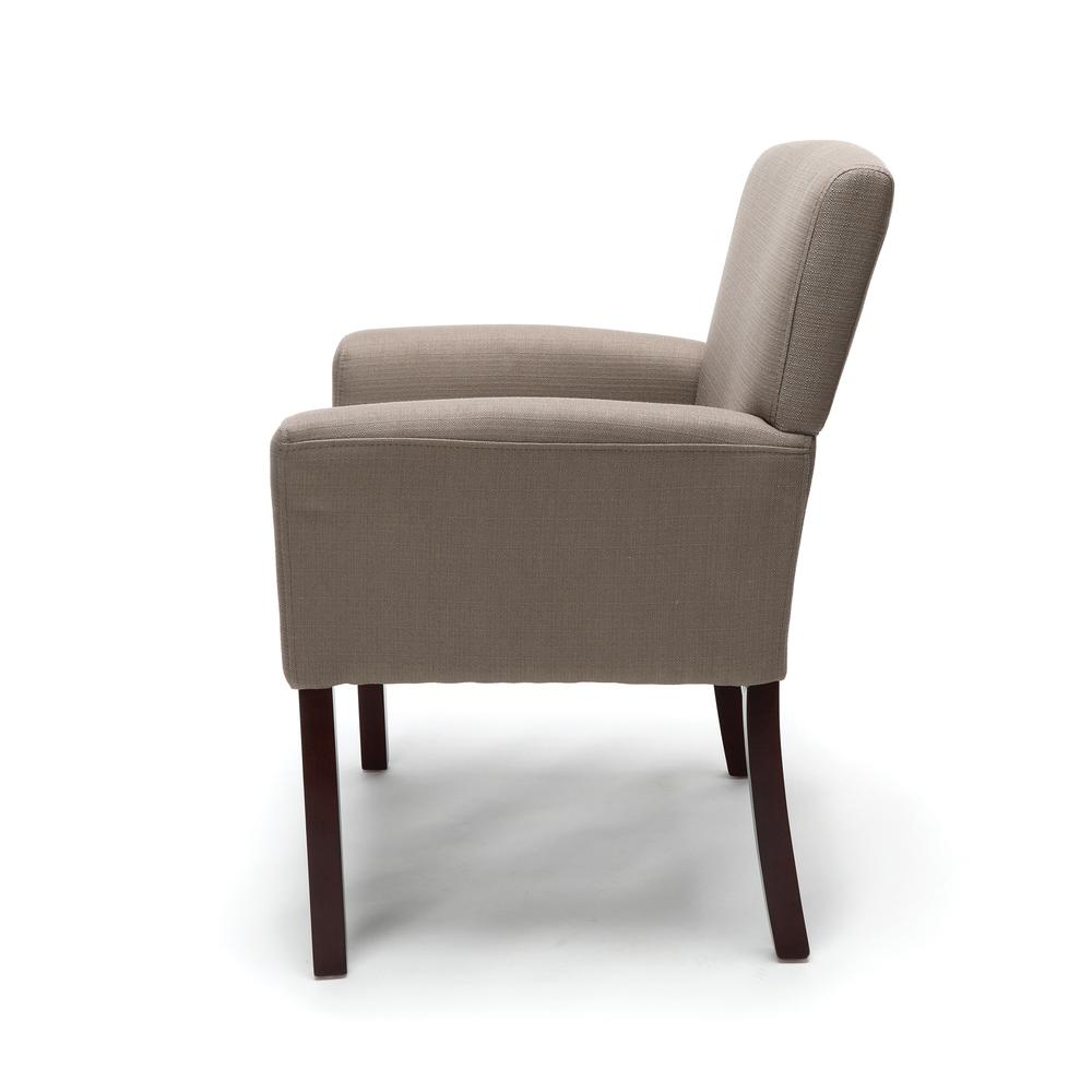 OFM ESS-9025 Fabric Guest Chair with Arms and Wooden Legs, Tan. Picture 5