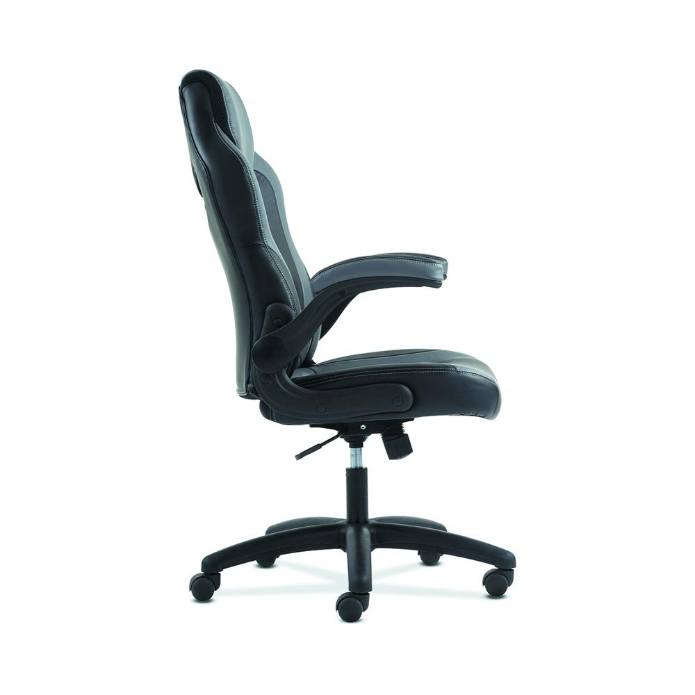 Sadie Racing Gaming Computer Chair- Flip-Up Arms, Black and Gray Leather (HVST911). Picture 5