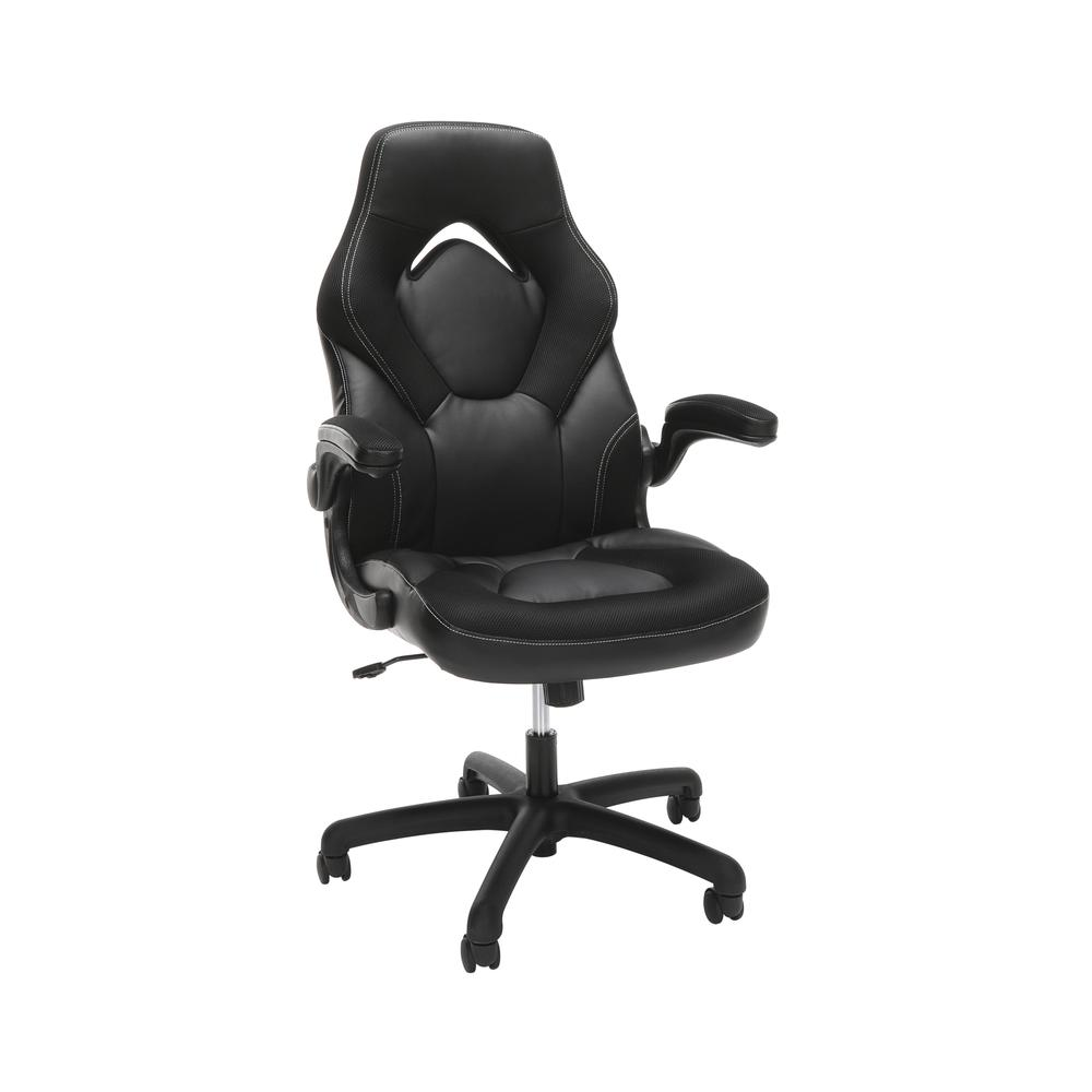 Racing Style Bonded Leather Gaming Chair, in Black. The main picture.