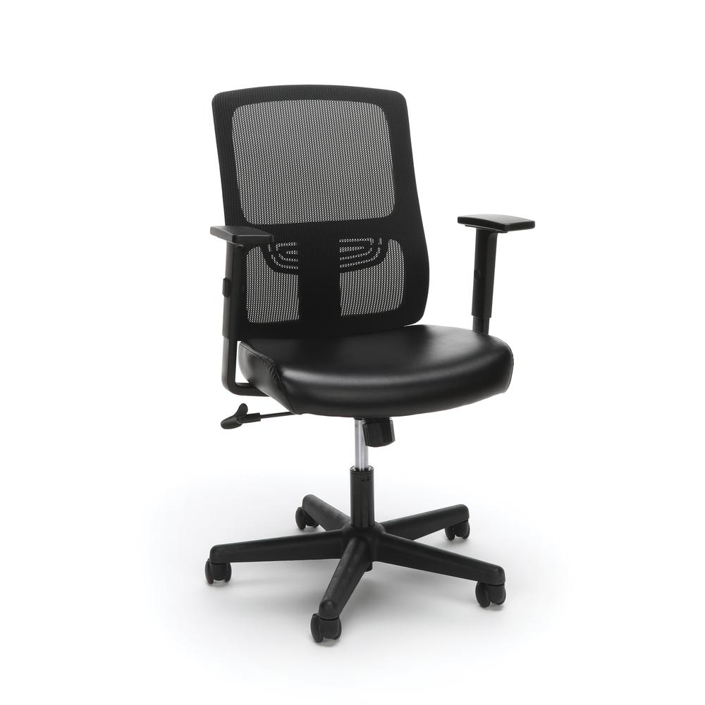 OFM ESS-3048 Mesh Back Chair with Bonded Leather Seat. Picture 1