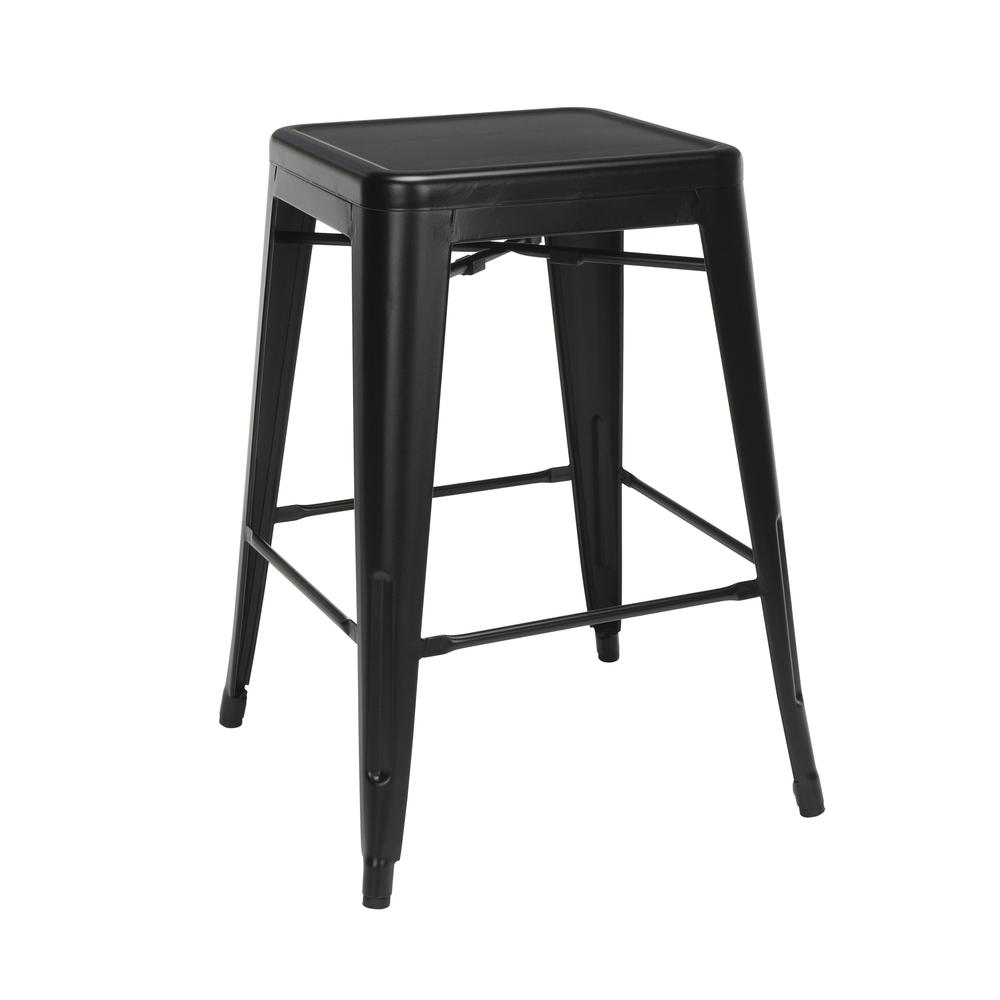 """The OFM 161 Collection Industrial Modern 26"""" Backless Metal Bar Stools, 4 Pack, require no assembly, are stackable, and provide a roomy 15 square inches of seating surface. These counter height stools. Picture 1"""