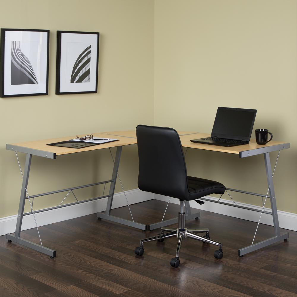 """60"""" Metal Frame L-Shaped Desk, Corner Computer Desk, in Maple. Picture 11"""