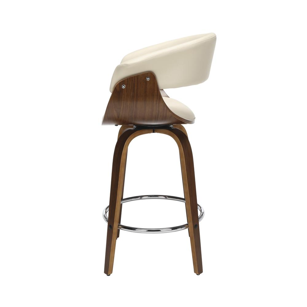 "The OFM 161 Collection Mid Century Modern 26"" Low Back Bentwood Frame Swivel Seat Stool, Vinyl Upholstery, in Ivory, is a statement piece that solves your elevated seating needs with the added functio. Picture 5"
