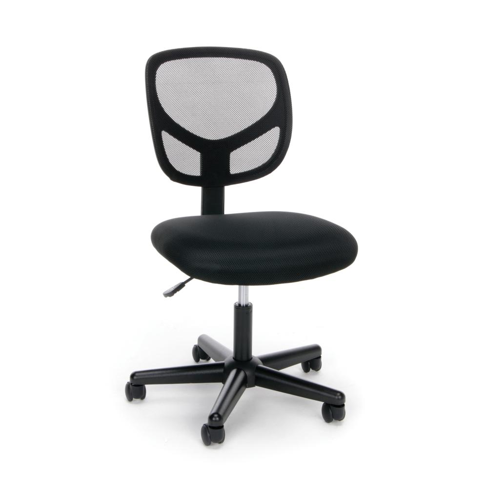Essentials by OFM ESS-3000 Swivel Mesh Back Armless Task Chair, Black. Picture 1