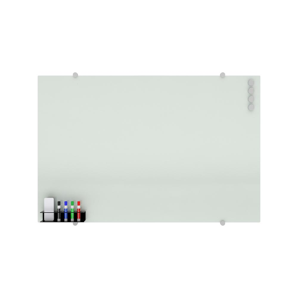 OFM Core Collection Magnetic Glass Whiteboard with Magnetic Marker Caddy, 47 x 30 (GB4730-REC-WHT). Picture 2