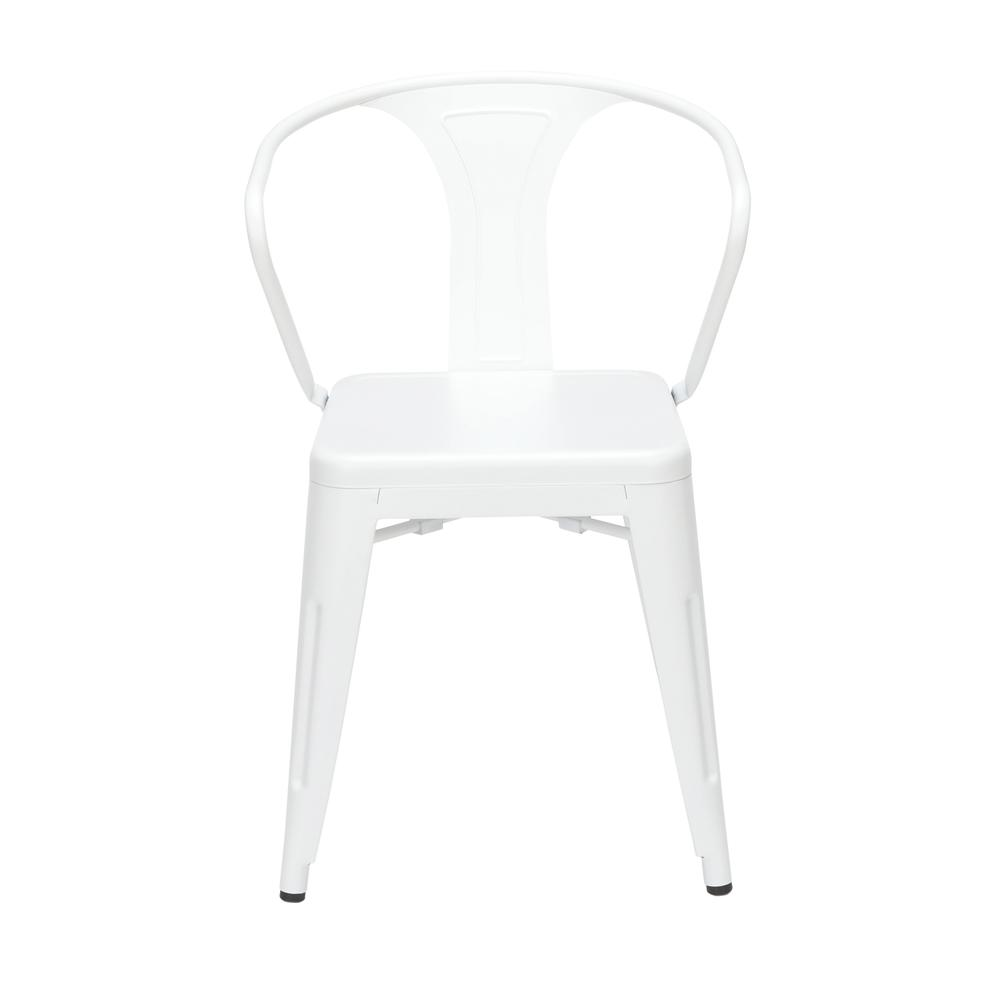 "OFM 161 Collection Industrial Modern 18"" Mid Back Metal Dining Chairs with Arms, 4 Pack, are manufactured with galvanized steel for indoor and outdoor use. These stacking metal chairs come fully assem. Picture 2"