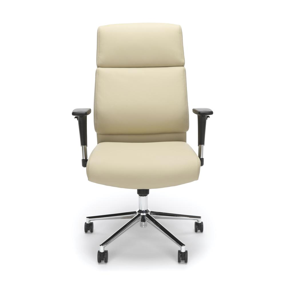 OFM Model 568 High-Back Bonded Leather Manager's Chair, Cream with Chrome Base. Picture 2