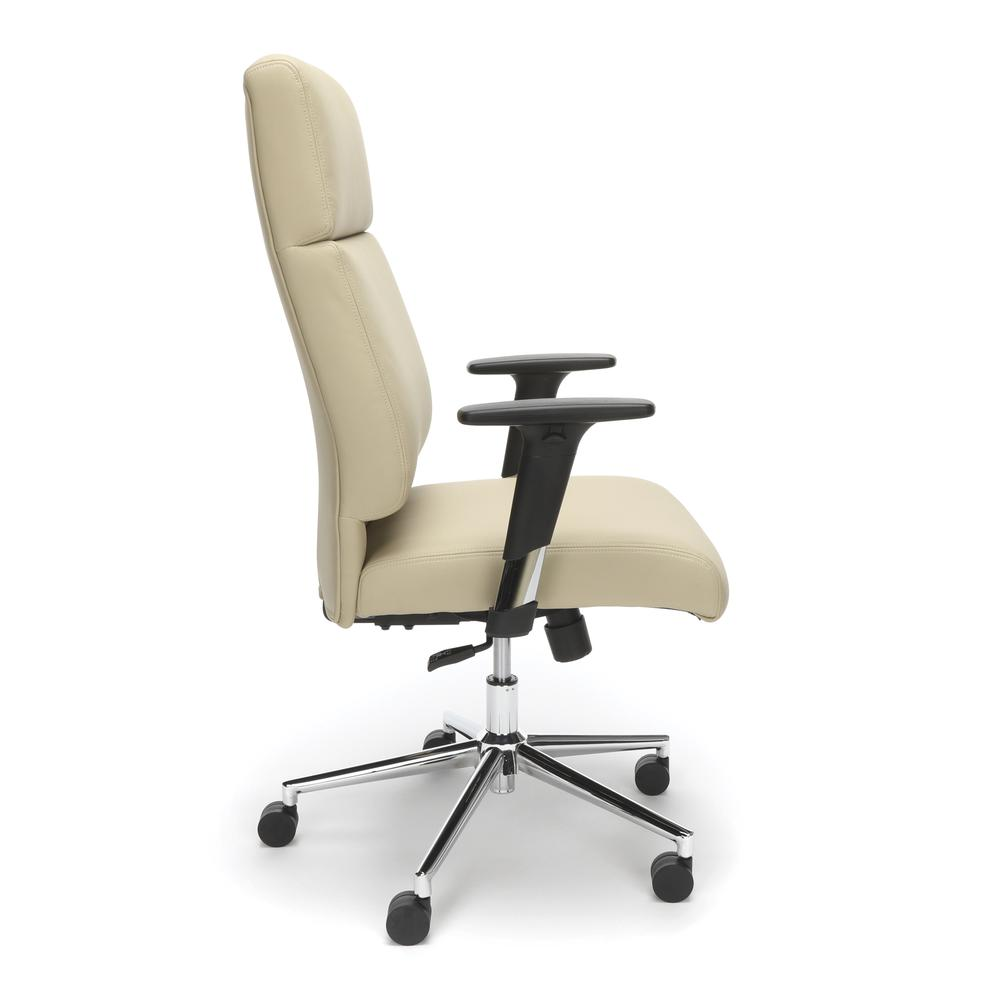 OFM Model 568 High-Back Bonded Leather Manager's Chair, Cream with Chrome Base. Picture 4