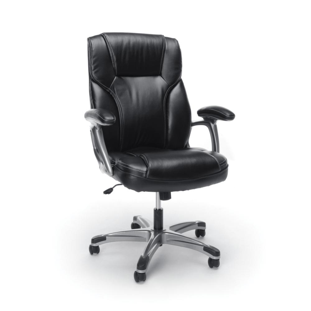 OFM ESS-6030 High-Back Bonded Leather Chair with Fixed Arms. Picture 1