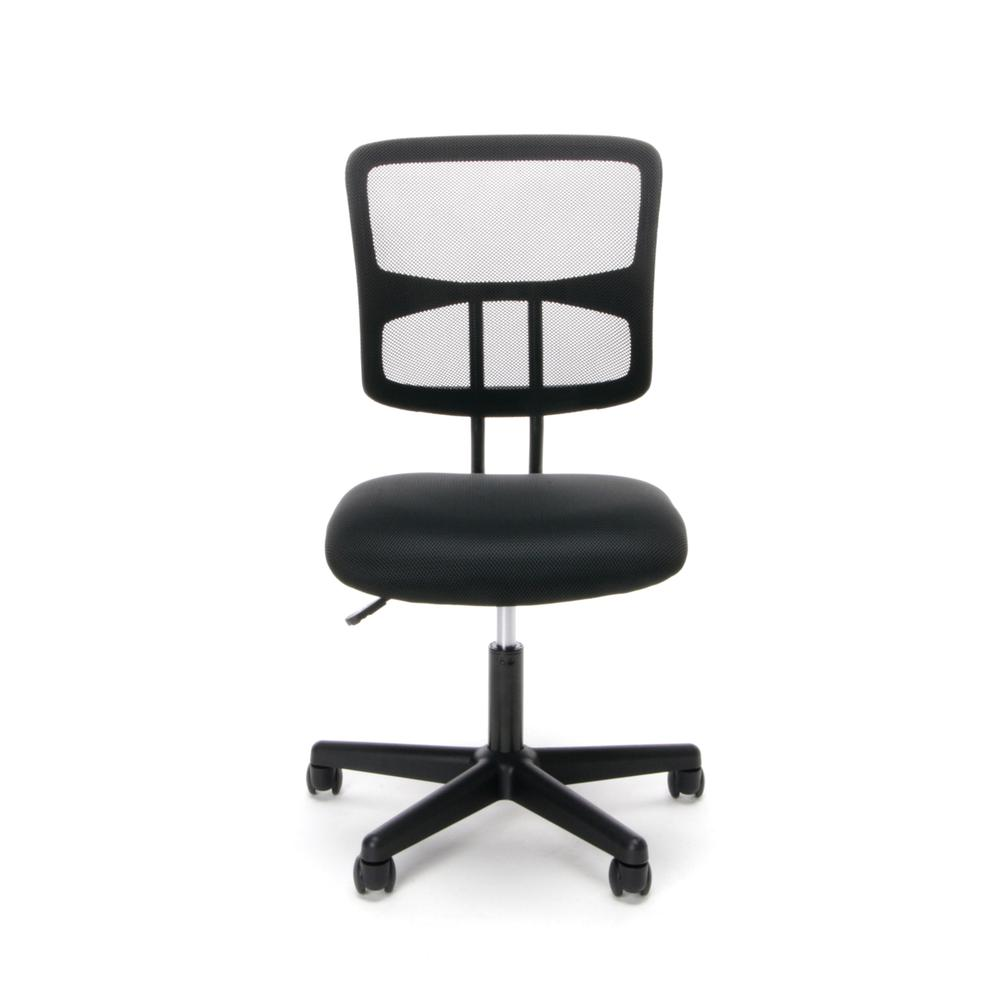 Essentials by OFM ESS-3020 Swivel Mesh Back Armless Task Chair, Black. Picture 2