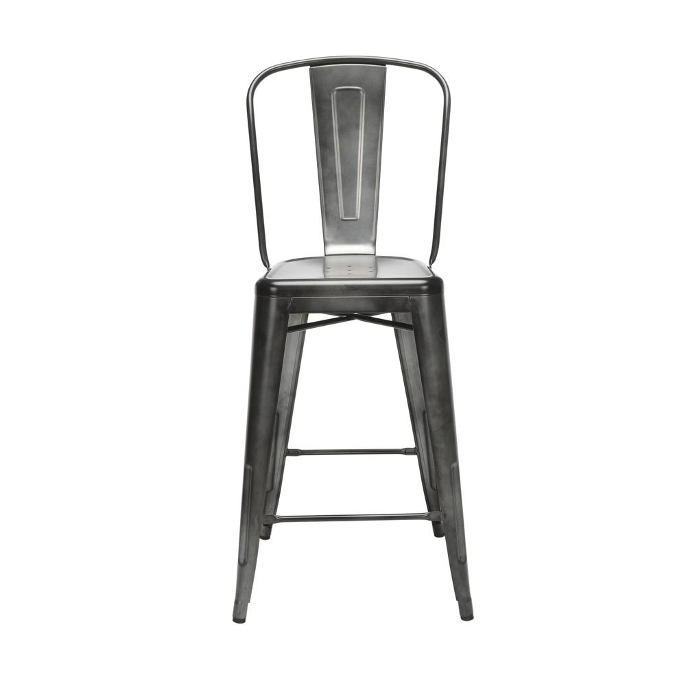 "The OFM 161 Collection Industrial Modern 26"" High Back Metal Bar Stools, 4 Pack, provide a sophisticated counter height seating solution for cafe tables and bars, suitable for indoor/outdoor settings.. Picture 2"