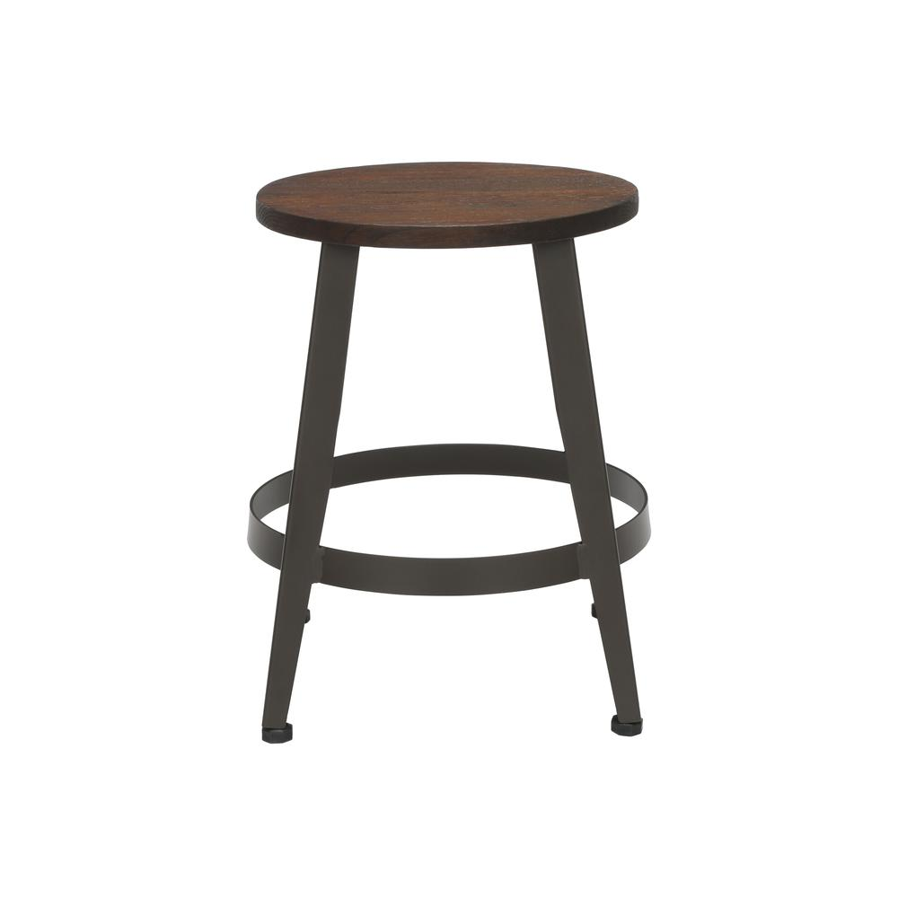 "18"" Table Height Metal Stool, in Walnut. Picture 2"