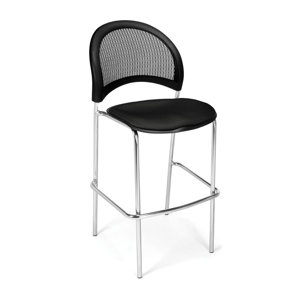 OFM Model 338C Fabric Cafe Height Chair, Black with Chrome Finish Base. Picture 1