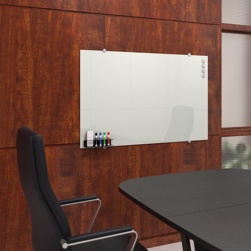 OFM Core Collection Magnetic Glass Whiteboard with Magnetic Marker Caddy, 47 x 30 (GB4730-REC-WHT). Picture 7
