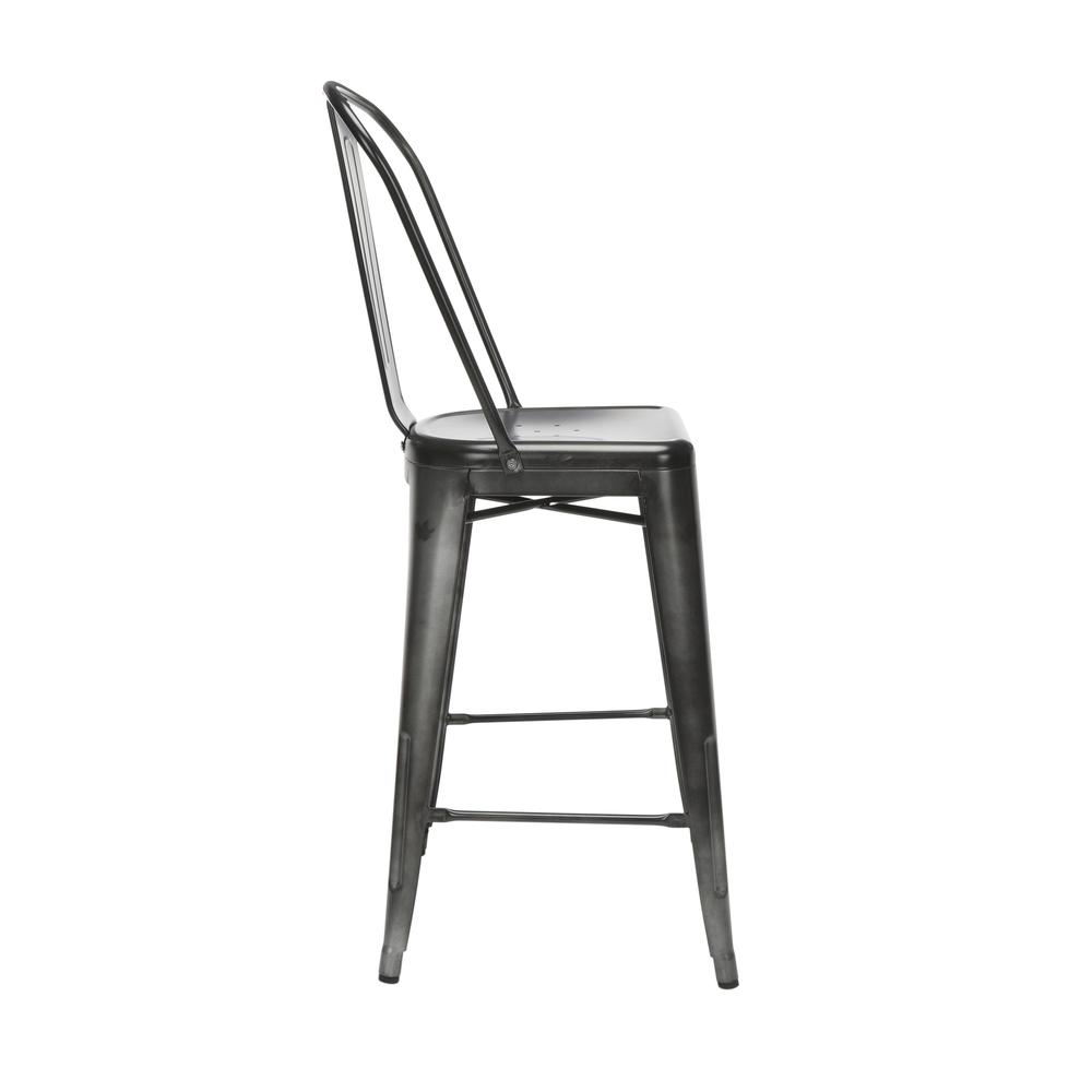 "The OFM 161 Collection Industrial Modern 26"" High Back Metal Bar Stools, 4 Pack, provide a sophisticated counter height seating solution for cafe tables and bars, suitable for indoor/outdoor settings.. Picture 4"