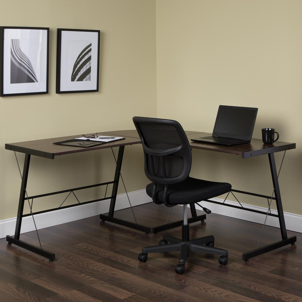 "60"" Metal Frame L-Shaped Desk, Corner Computer Desk, in Wenge. Picture 11"