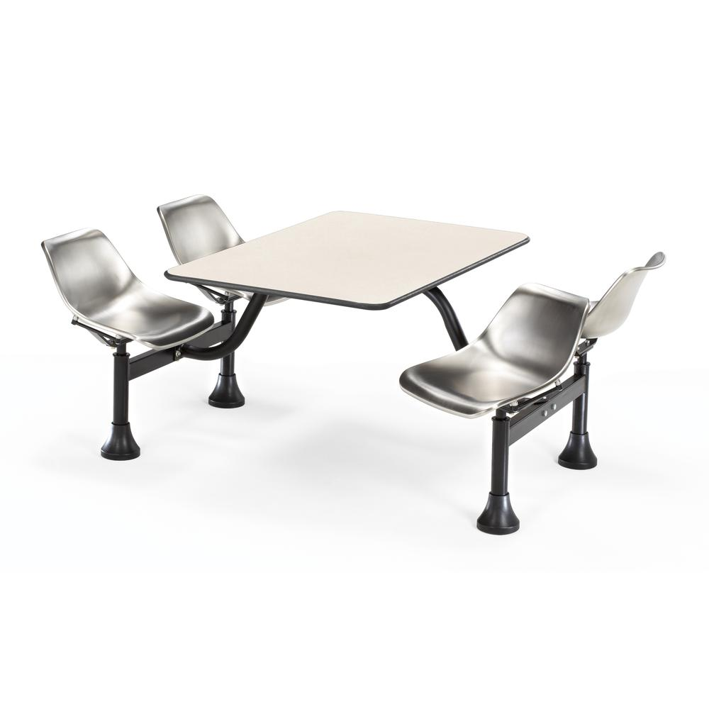 Top and 4 Seats, Beige Nebula with Stainless Steel. Picture 1