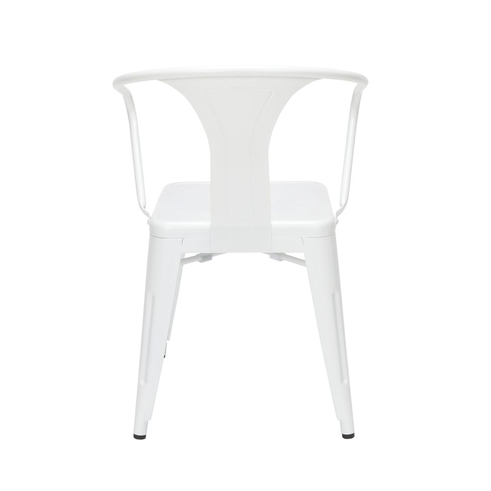 "OFM 161 Collection Industrial Modern 18"" Mid Back Metal Dining Chairs with Arms, 4 Pack, are manufactured with galvanized steel for indoor and outdoor use. These stacking metal chairs come fully assem. Picture 3"