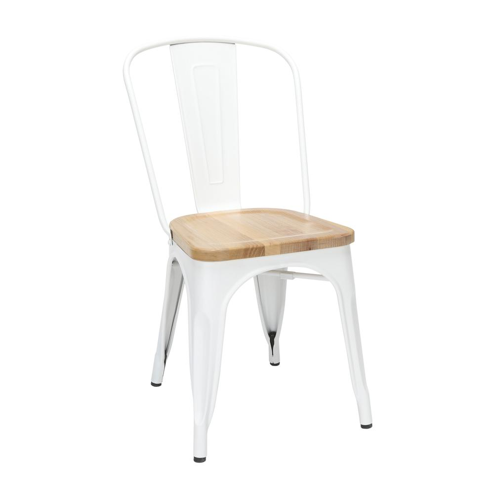 """The OFM 161 Collection Industrial Modern 18"""" High Back Metal Dining Chairs with Solid Ash Wood Seats, 4 Pack, feature galvanized steel chair frames with solid ash wood seats, marrying the industrial w. Picture 1"""