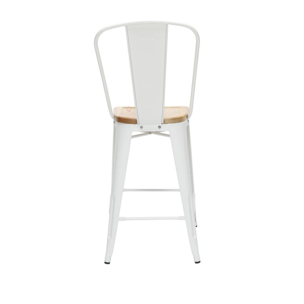 "The OFM 161 Collection Industrial Modern 26"" High Back Metal Stools with Solid Ash Wood Seats, 4 Pack, bring the industrial vibe of a galvanized steel frame and couple it with the inviting warmth of s. Picture 3"