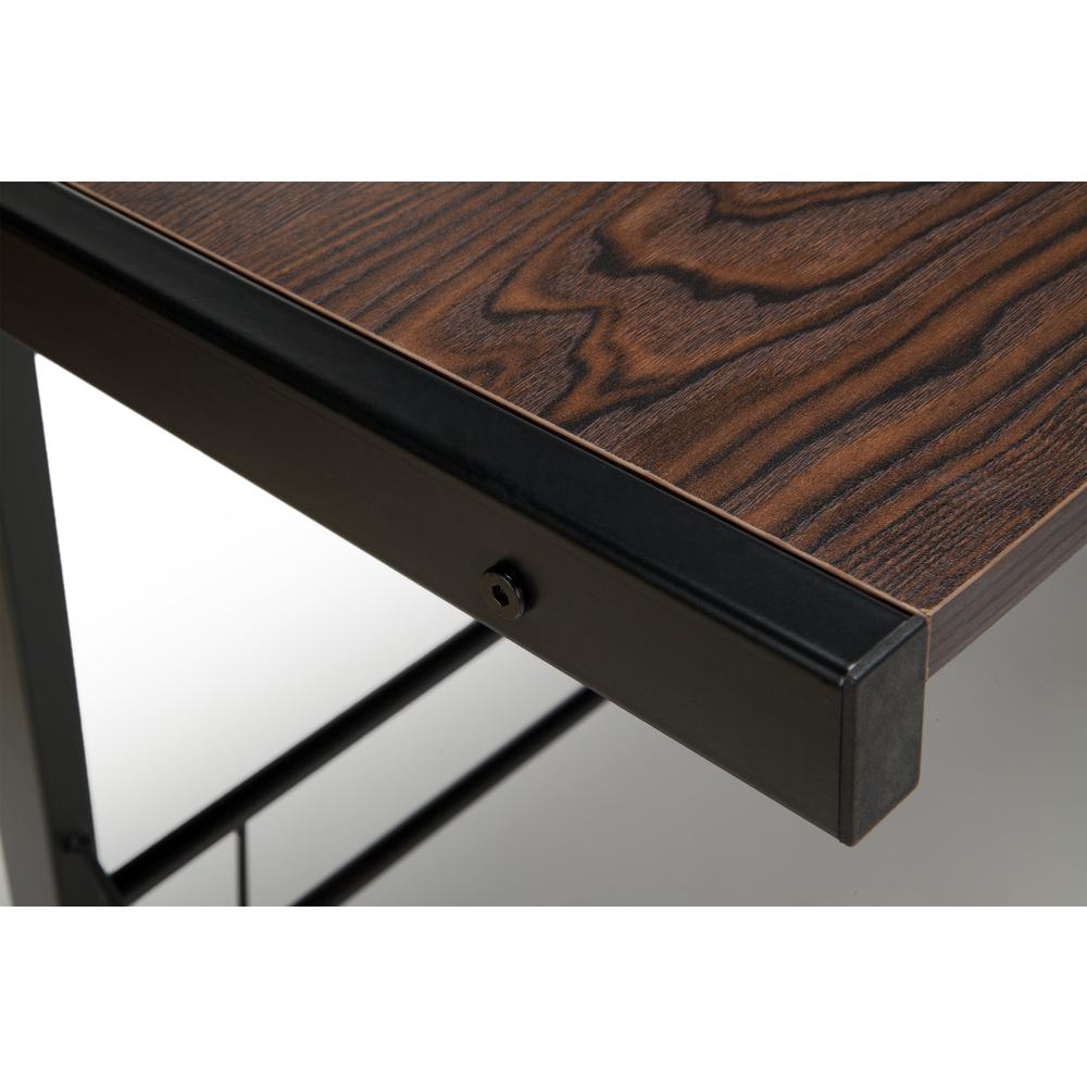 "60"" Metal Frame L-Shaped Desk, Corner Computer Desk, in Wenge. Picture 8"