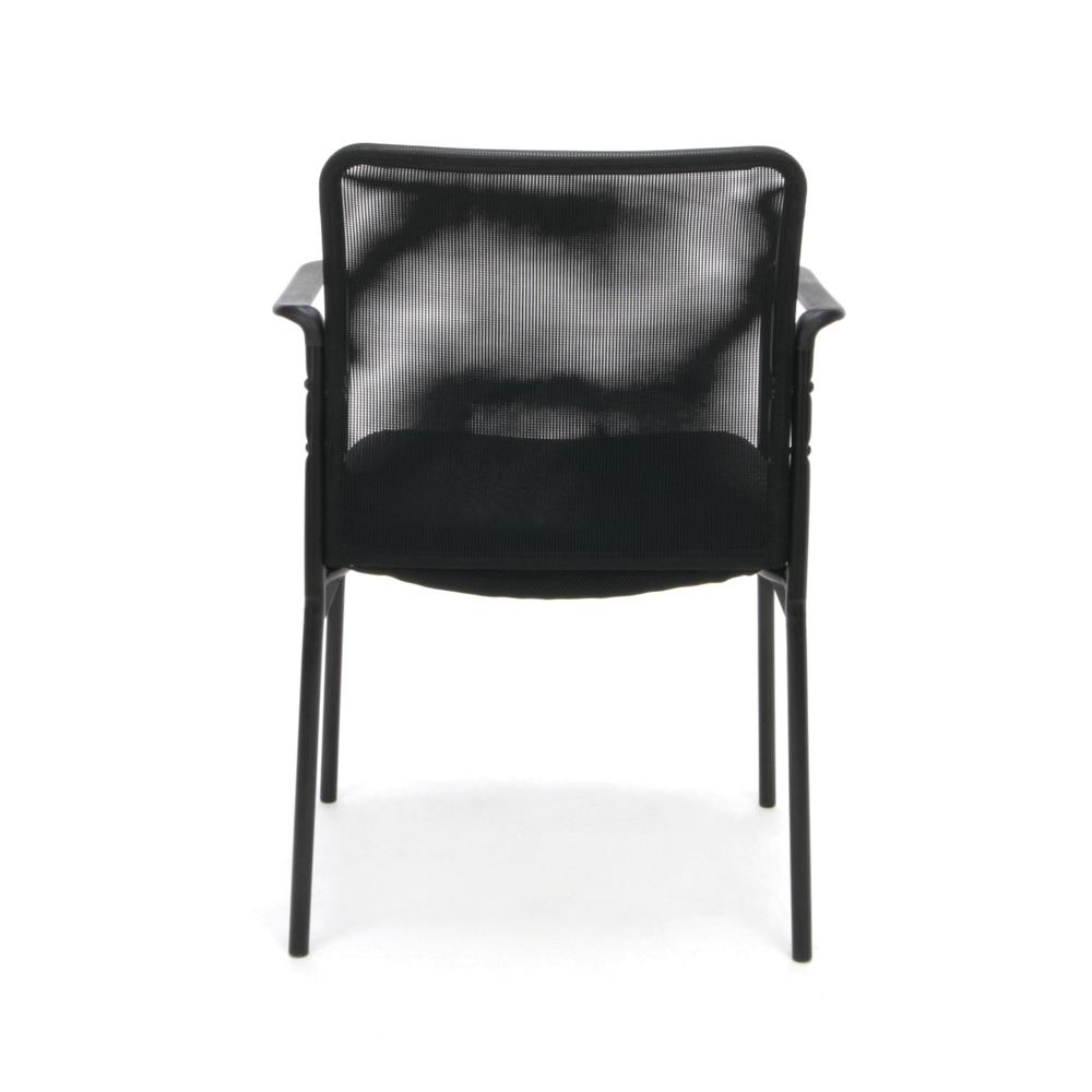 Essentials by OFM ESS-8010 Mesh Back Upholstered Side Chair with Arms, Black. Picture 3