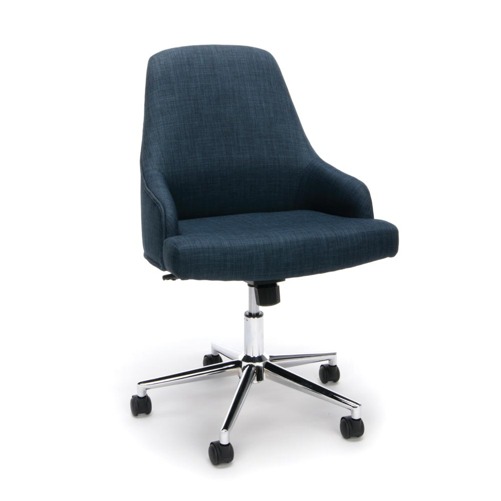 Essentials by OFM ESS-2086 Upholstered Home Desk Chair, Blue. Picture 1