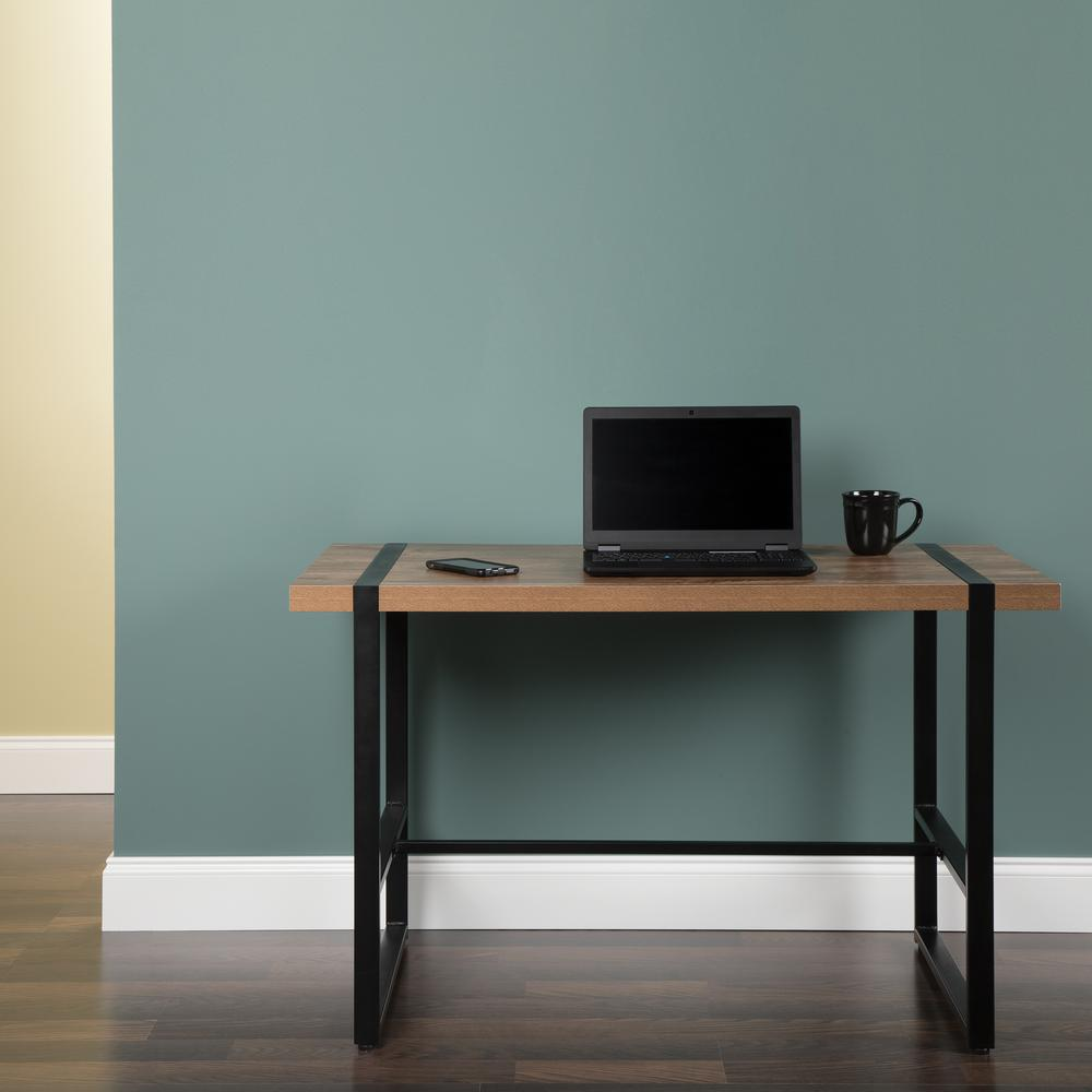 "Modern 48"" Metal O-Frame Computer Desk, in Knotty Oak. Picture 13"