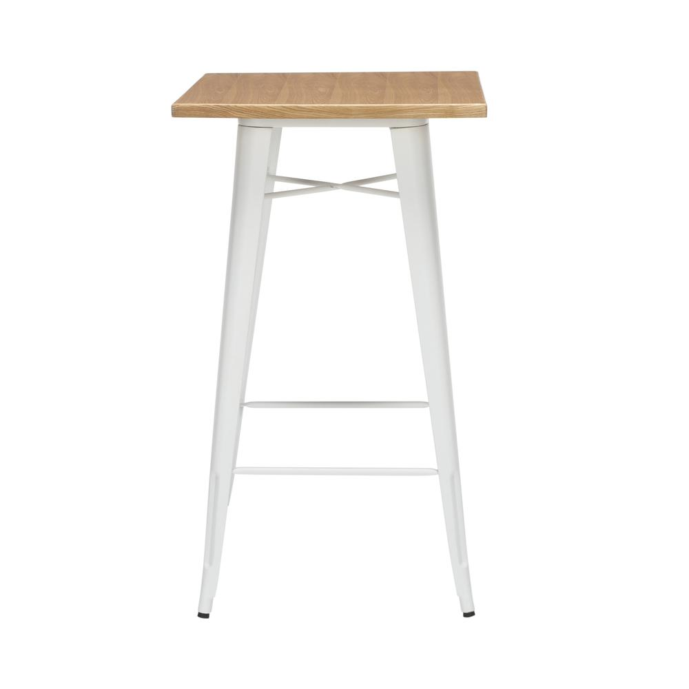 "The OFM 161 Collection Industrial Modern 24"" Square Bar Table with Footring features a galvanized steel frame coupled with a 1"" thick wooden tabletop and completed with a footrest that's positioned 11. Picture 3"
