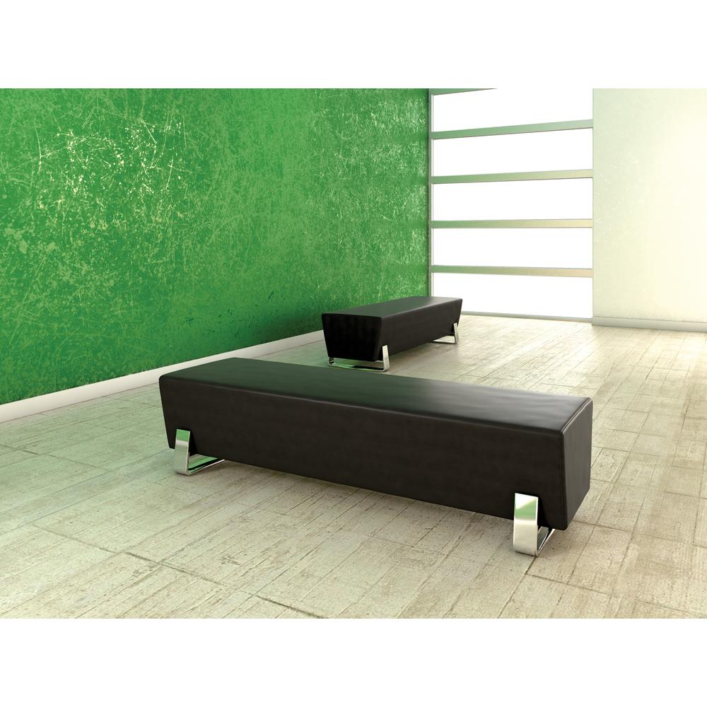 OFM Model 4003C Triple Seating Bench, Textured Vinyl with Chrome Base, Midnight. Picture 4